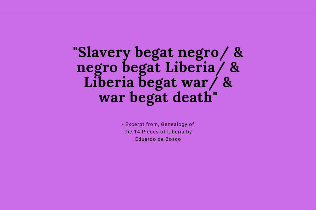 - Excerpt from, Genealogy of the 14 Pieces of Liberia by Eduardo de Bosco